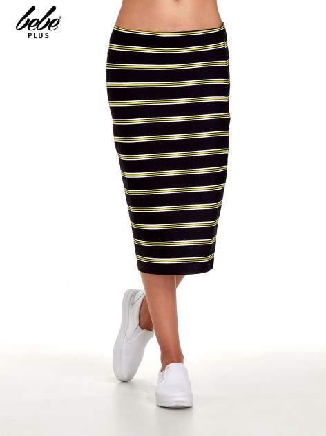 Czarna spódnica midi w żółte paski                                  zdj.                                  1