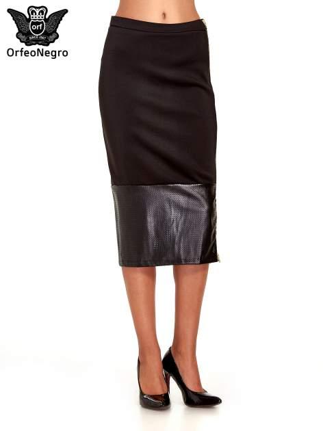Czarna spódnica midi z siatkowym modułem                                  zdj.                                  1