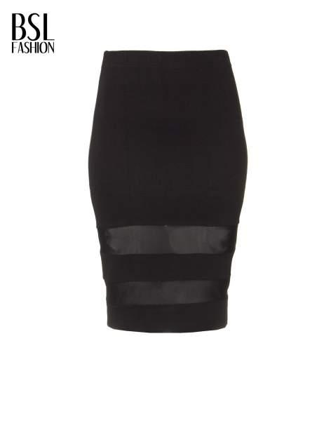 Czarna spódnica tuba z transparentnymi panelami                                  zdj.                                  5