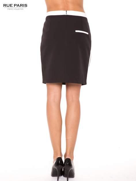 Czarna spódnica two tone z kontrastowymi białymi pasami                                  zdj.                                  3