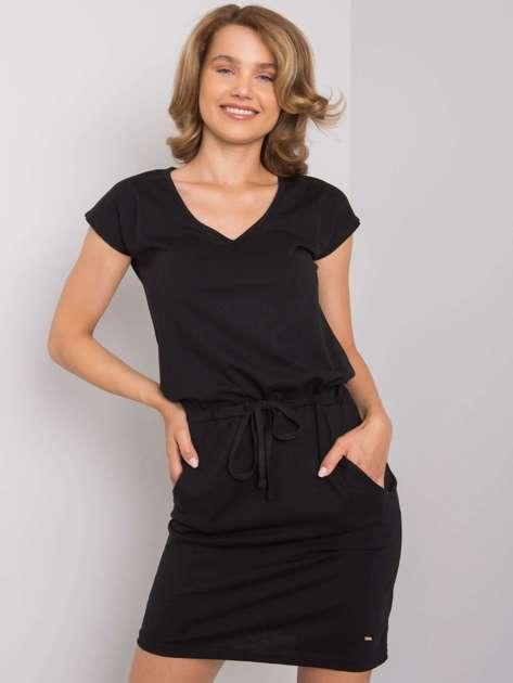 Czarna sukienka bawełniana Curtis NIE ZNASZ MNIE