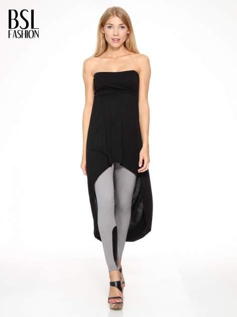Czarna sukienka bez ramiączek z dłuższym tyłem                                  zdj.                                  4