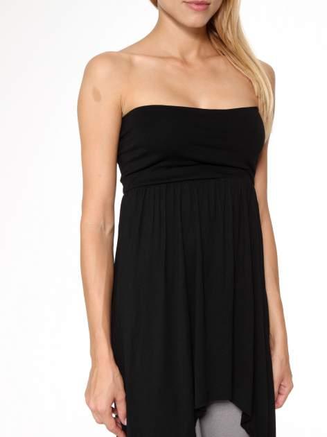 Czarna sukienka bez ramiączek z dłuższym tyłem                                  zdj.                                  9
