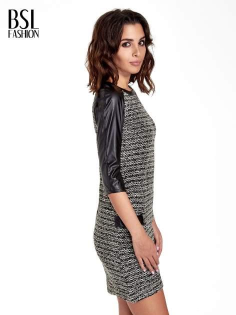 Czarna sukienka bouclé ze skórzanymi rękawami                                  zdj.                                  3