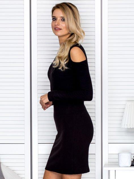 Czarna sukienka cold arms w prążek                                  zdj.                                  5