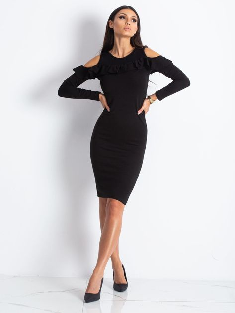 Czarna sukienka cut out z falbaną                              zdj.                              4