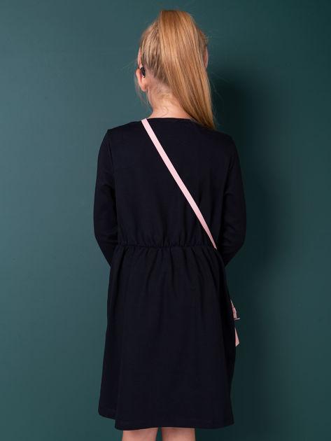 Czarna sukienka dla dziewczynki z perełkami                              zdj.                              4