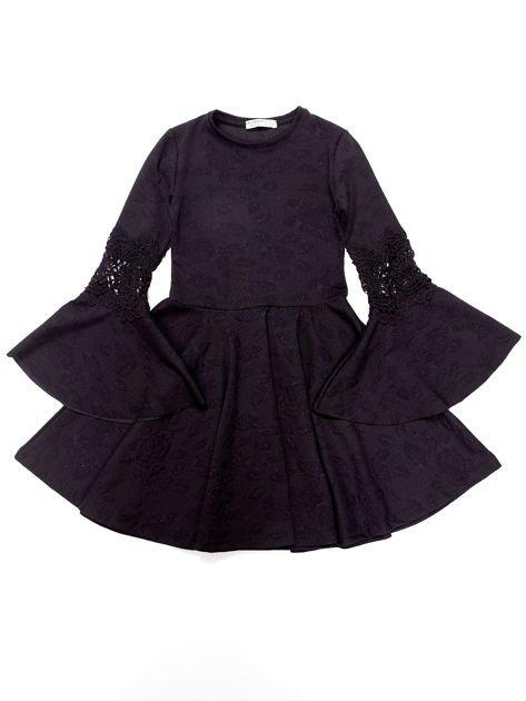Czarna sukienka dla dziewczynki z szerokimi rękawami                              zdj.                              6