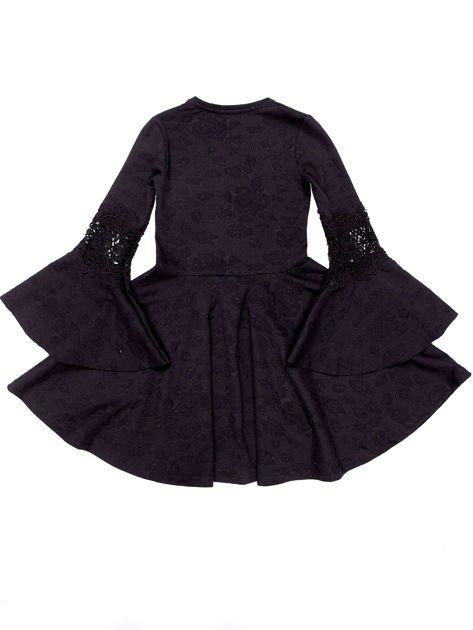 Czarna sukienka dla dziewczynki z szerokimi rękawami                              zdj.                              7