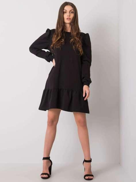 Czarna sukienka dresowa z falbaną Neah