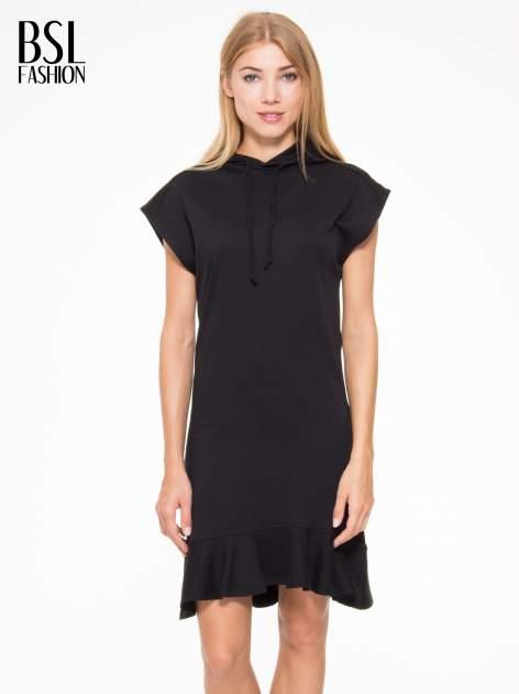 Czarna sukienka dresowa z falbaną na dole                                  zdj.                                  1