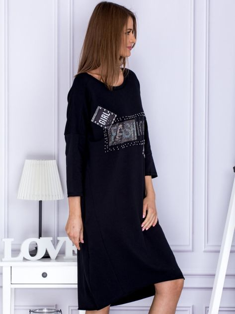Czarna sukienka dresowa z napisem FASHION                              zdj.                              5