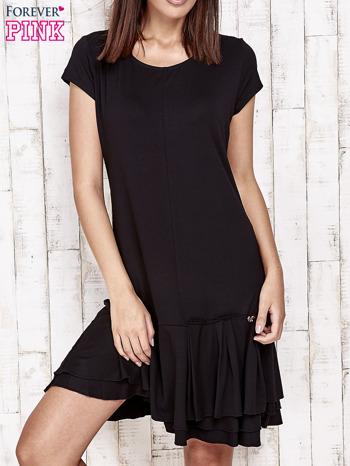 Czarna sukienka dresowa z ozdobną falbaną                                  zdj.                                  1
