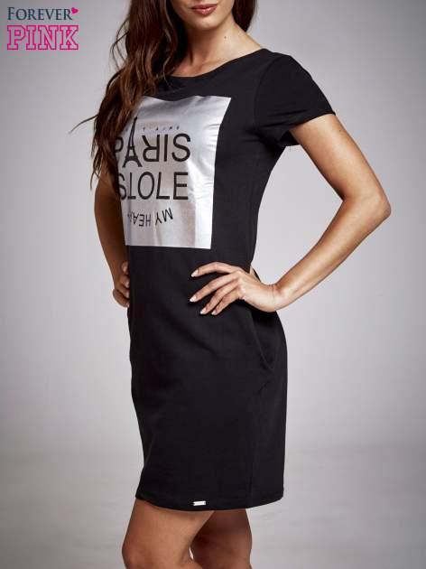 Czarna sukienka dresowa ze srebrnym printem PARIS                                  zdj.                                  3