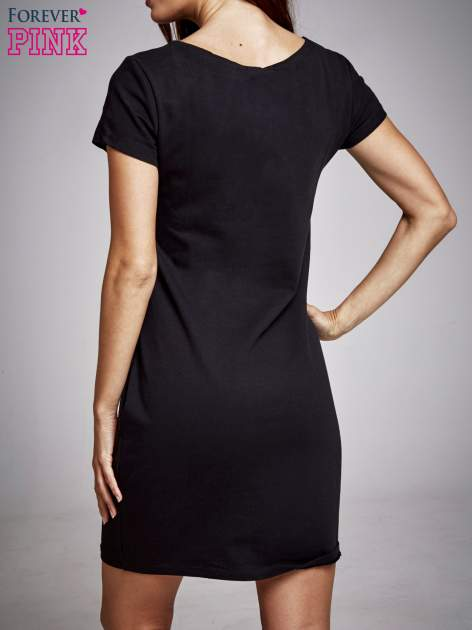 Czarna sukienka dresowa ze srebrnym printem PARIS                                  zdj.                                  4