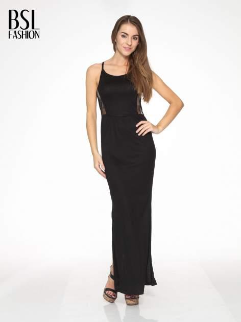 Czarna sukienka maxi na ramiączkach z koronkowym tyłem                                  zdj.                                  2
