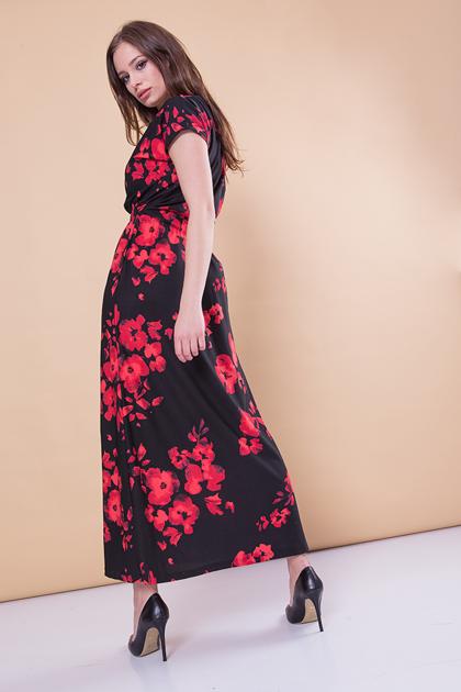 Czarna sukienka maxi w kwiaty                              zdj.                              2