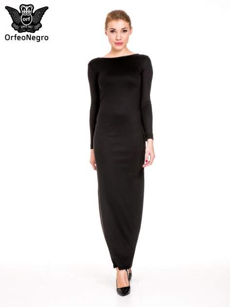 Czarna sukienka maxi z dekoltem na plecach                                  zdj.                                  2