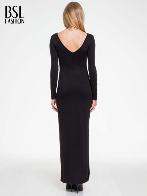 Czarna sukienka maxi  z dekoltem na plecach                                  zdj.                                  3