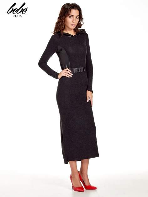 Czarna sukienka maxi z kapturem                                  zdj.                                  2