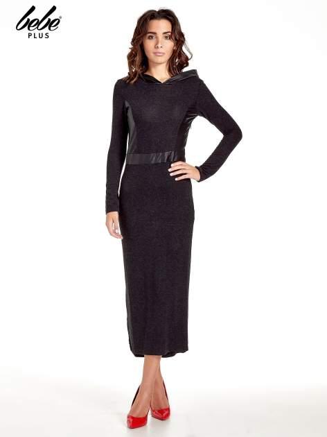 Czarna sukienka maxi z kapturem