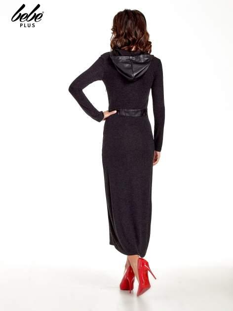 Czarna sukienka maxi z kapturem                                  zdj.                                  4