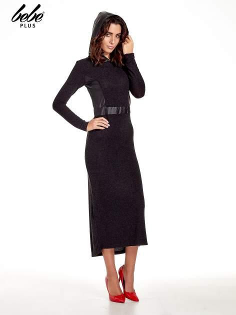 Czarna sukienka maxi z kapturem                                  zdj.                                  5
