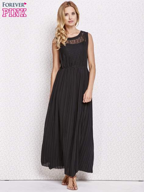 Czarna sukienka maxi z koronkowym przodem                                  zdj.                                  2