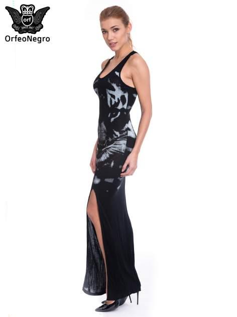 Czarna sukienka maxi z nadrukiem tygrysa                                  zdj.                                  5