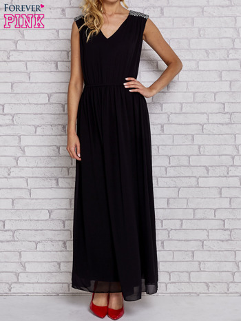 Czarna sukienka maxi z pagonami z dżetów                                  zdj.                                  1