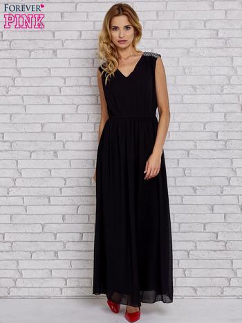 Czarna sukienka maxi z pagonami z dżetów                                  zdj.                                  2