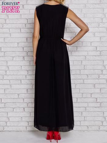 Czarna sukienka maxi z pagonami z dżetów                                  zdj.                                  4