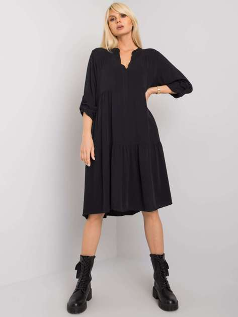 Czarna sukienka oversize z wiskozy Malone OCH BELLA