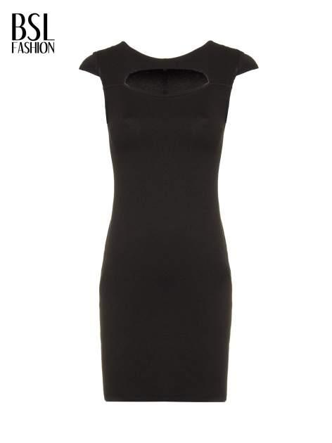 Czarna sukienka tuba z dekoltem cut out                                  zdj.                                  5