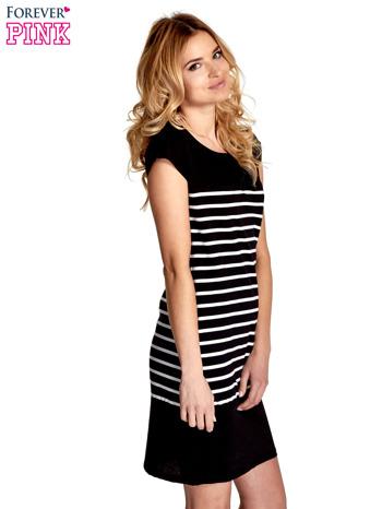 Czarna sukienka w białe paski                                  zdj.                                  3