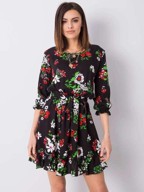 Czarna sukienka w kwiaty Arlette