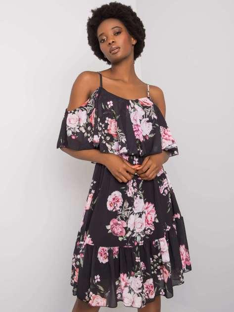 Czarna sukienka w kwiaty Nerissa OCH BELLA