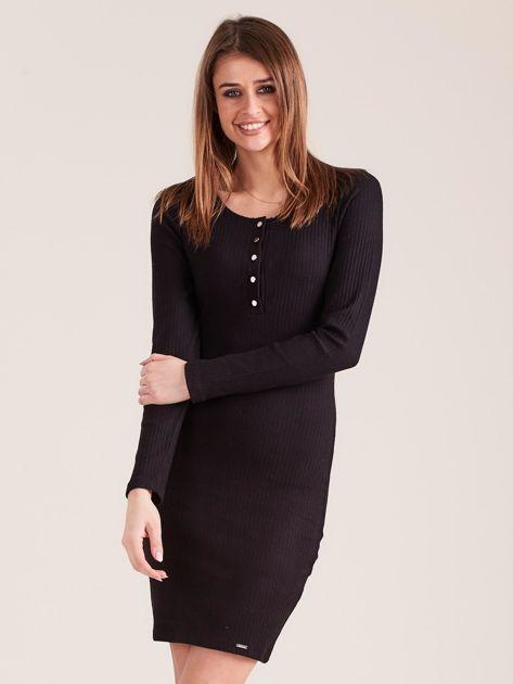 Czarna sukienka w prążek z guzikami                              zdj.                              1
