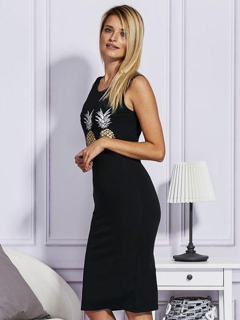Czarna sukienka z ananasami                                  zdj.                                  5