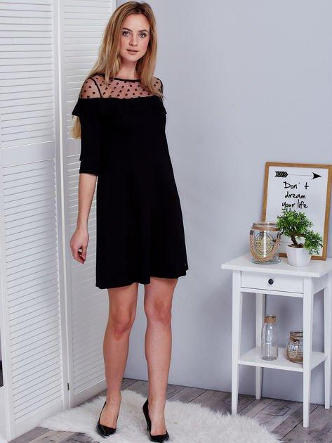 Czarna sukienka z dekoltem w groszki                              zdj.                              4