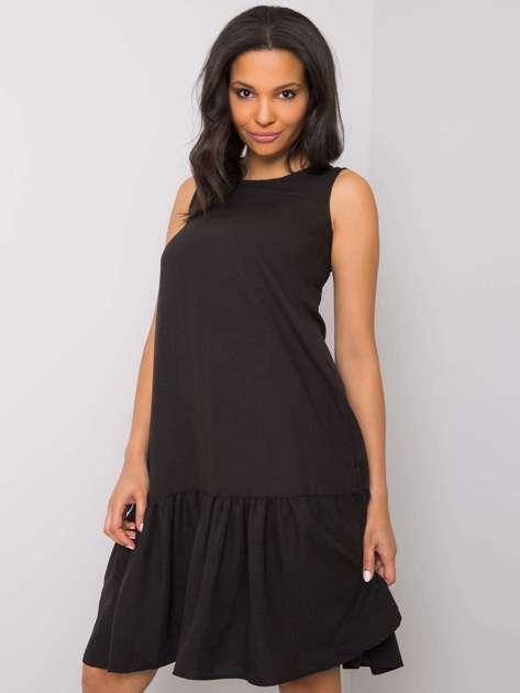 Czarna sukienka z falbaną Jossie RUE PARIS