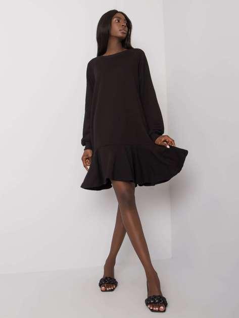 Czarna sukienka z falbaną Perrine
