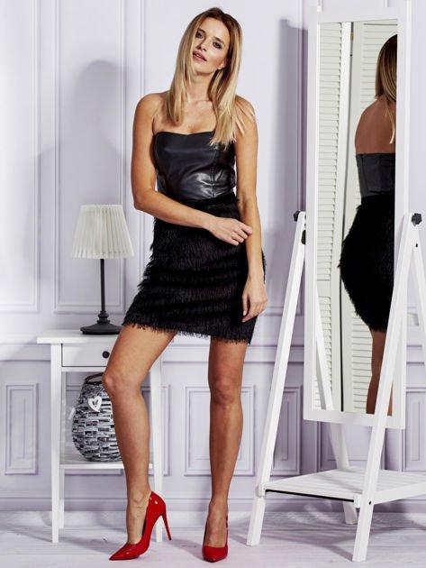 Czarna sukienka z frędzelkami                               zdj.                              4