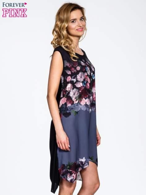 Czarna sukienka z kwiatowym nadrukiem i asymetrycznym dołem                                  zdj.                                  3