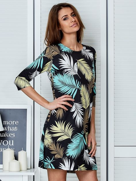 Czarna sukienka z motywem palmowych liści                              zdj.                              5