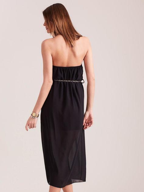 Czarna sukienka z ozdobnym dekoltem                              zdj.                              3