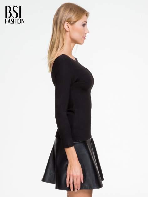 Czarna sukienka z rozkloszowanym dołem ze skóry                                  zdj.                                  3