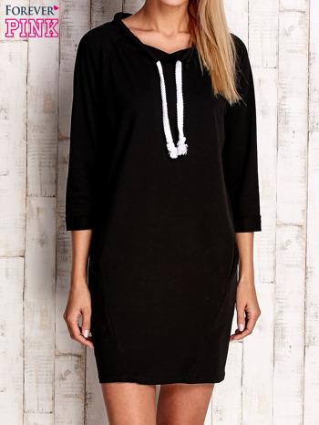 Czarna sukienka z troczkami                              zdj.                              1