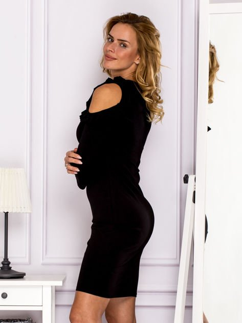 Czarna sukienka z wycięciami na ramionach                              zdj.                              5