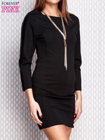 Czarna sukienka ze skórzanymi wstawkami na rękawach                                   zdj.                                  3